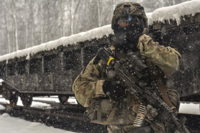 A Paratrooper assigned to Charlie Company, 1st Battalion, 508th Parachute Infantry Regiment simulates providing security outside a subway tunnel during training at Fort A.P. Hill, Virginia in March. Senior Army leaders discussed the importance of preparations for warfighting in megacities during the 2018 LANPAC conference in Honolulu.