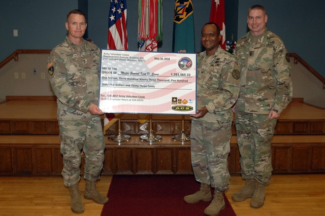 From left, Maj. Gen. Kent Savre, MSCoE and Fort Leonard Wood commanding general, Col. Tracy Lanier, USAG Fort Leonard Wood, and Command Sgt. Maj. Larry Orvis display a symbolic check for $1,393,565, representing the 56,443 volunteer hours donated in 2017.