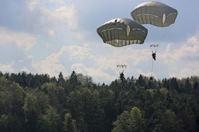 U.S. Soldiers assigned to 173rd Infantry Brigade Combat Team (Airborne) conduct an airborne training operation April 17 at Hohenfels Training Area, Germany. The JWA helps the Army evaluate emerging concepts, integrate new technologies, and promote interoperability within the Army, with other services, U.S. allies, and other coalition partners.