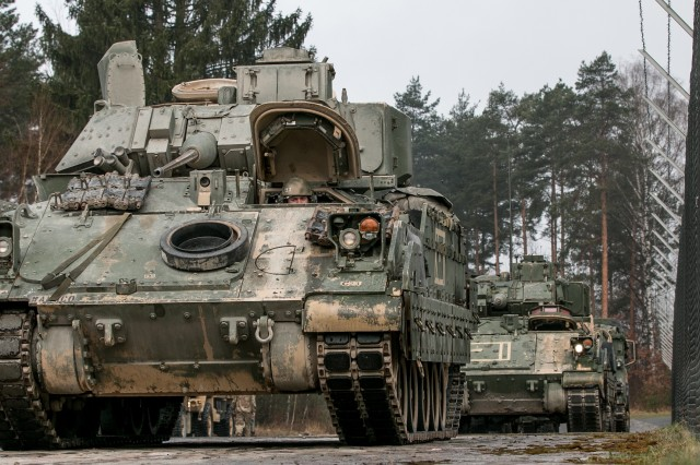 M2 Bradley fighting vehicles are lined up in Grafenwoehr, Germany to be fitted with Multiple Integrated Laser Engagement System (MILES) gear on April 11, 2018, in preparation for a field exercise during Combined Resolve X. Exercise Combined Resolve X is an U.S. Army Europe exercise series held twice a year in the major training areas of southeastern Germany, with this iteration scheduled to take place in April 2018. The Joint Warfighting Assessment leveraged Combined Resolve X, along with the Air Force's Blue Flag, that were also occurring in Europe.