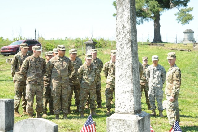 "Brig. Gen. Patrick Donahoe, 10th Mountain Division (LI) and Fort Drum deputy commanding general, joined 15 Soldiers from across the division and members of the Fort Drum Natural Resources Branch on May 24 to honor veterans buried in the ""Lost Villages"" cemeteries on post."