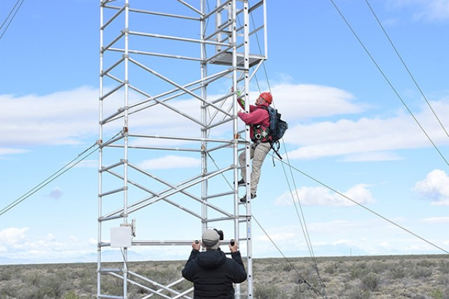 Peter and Steve Wille took still photos and video of Robbie Knight, natural resources manager, climbing a nesting tower April 30, 2018 at Dugway Proving Ground, Utah to temporarily remove golden eagle chicks for leg banding. The Wille brothers filmed for Chase Studio, a major provider of museum exhibits. The images will be in a permanent golden eagle display opening June 10 at the Draper Museum of Natural History in Cody, Wyoming.
