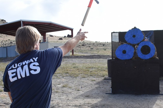 A hatchet throw was new this year at the seventh annual Tactical Top Shot 3-gun competition at Dugway Proving Ground, Utah. The May 18, 2018 event was open to 75 Utah military and law enforcement members. Photo by Al Vogel, Dugway Proving Ground Public Affairs.