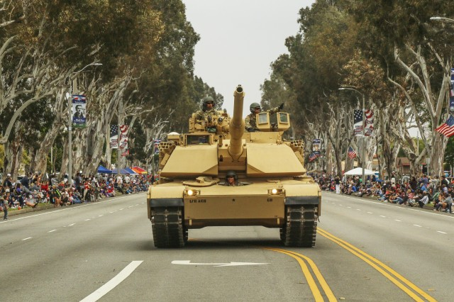 An M1A1 Abrams tank from the 11th Armored Cavalry Regiment rolls down the road during the Torrance Armed Forces Day parade May 19, 2018. For more than five decades, the city of Torrance has hosted the parade as a tribute to the men and women in uniform.