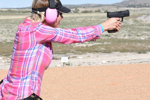 Monique DeLong, the wife of a Soldier at Dugway Proving Ground, Utah, competed May 18 in the 2018 Tactical Top Shot 3-Gun Competition at Dugway. It was a family team: her husband, brother-in-law, father-in-law and family friend also competed. Photo by Al Vogel, Dugway Proving Ground Public Affairs
