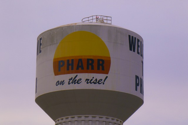 The Pharr water tower sits near the city's overpass. Chavez went to school and was raised in Pharr after her family moved to the United States.