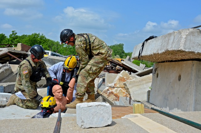 Members of the Utah National Guard Homeland Response Force (HRF) participated in regional disaster training in Missouri, May 14-18, as part of the New Madrid Seismic Zone (NMSZ) exercise hosted by the Missouri National Guard. The UTNG 116th Engineer Company trained with members of Missouri Task Force One during search and extraction missions, shoring of unstable structures and breaching of structures to reach hypothetical patients.