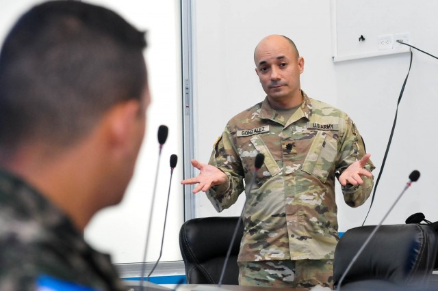 Officers of the Puerto Rico National Guard visited the Honduras Emergency Operation Center (COPECO) facilities in Honduras Republic, May 14 to 18. The purpose of the visit was to share techniques and procedures to be applied during emergency events caused by natural disasters such as the most recent Hurricane Maria event which hit the island of Puerto Rico eight months ago.