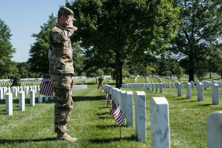 "Soldiers assigned to the 3d U.S. Infantry Regiment (The Old Guard), participate in ""Flags In"" at Arlington National Cemetery in Arlington, Va., May 24, 2018."