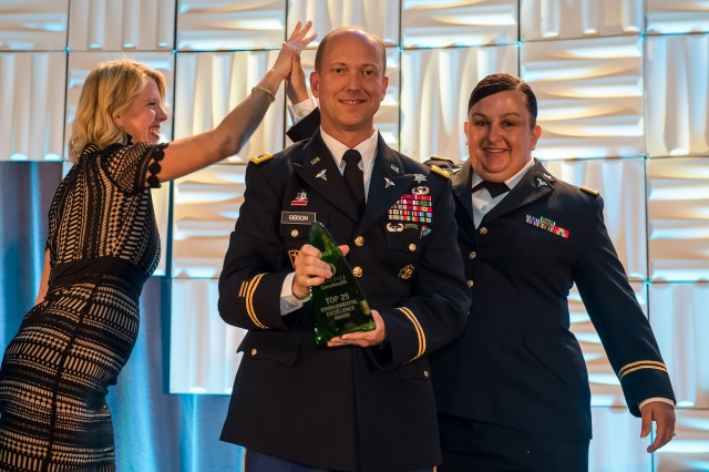 Carl R. Darnall Army Medical Center commander, Col. David R. Gibson, and Capt. Kandice Reyes, chief, Environmental Health, were recently in San Diego to accept an environmental excellence award from Practice Greenhealth during the organization's CleanMed 2018 award gala, held May 9.  CRDAMC received the Top 25 Environmental Excellence Award in recognition for groundbreaking achievement and innovation in health care sustainability. The award is one of the Environmental Excellence Awards given each year to honor environmental achievements in the health care sector. CRDAMC is the second Army facility to achieve a Top 25 Environmental Excellence Award in the past five years. (Photo courtesy of Practice Greenhealth)