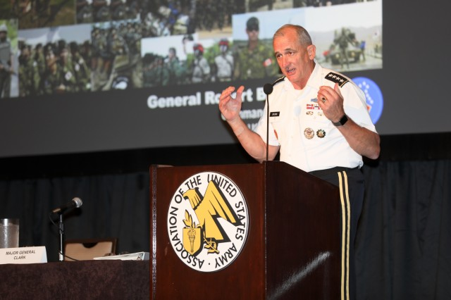 Commanding General Robert B. Brown, U.S. Army Pacific, closes out the three-day symposium by thanking everyone in attendance. People from around the world gather in downtown Honolulu to take part in the sixth annual Association of the United States Army (AUSA) Land Forces of the Pacific (LANPAC) Symposium May 22 through May 24.