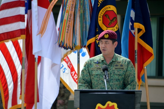 Col. Leung Shing Tai, commander, 6th Division, Singapore Army, gives his closing remarks during the closing ceremony of Tiger Balm 18 at the 298th Regiment, Multi-Functional Training Unit (MFTU), Regional Training Institute (RTI), Waimanalo, Hawaii, on May 26, 2018. Tiger Balm is an annual bilateral military exercise designed to enhance the professional relationship, combat readiness, and interoperability between the US and Singapore, and fulfill and demonstrate regional security partnership and resolve. (U.S. Army photo by Staff Sgt. Armando R. Limon, 3rd Brigade Combat Team, 25th Infantry Division)