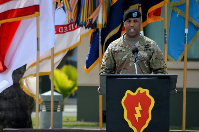 Maj. Gen. Ronald P. Clark, commander, 25th Infantry Division, gives his closing remarks during the closing ceremony of Tiger Balm 18 at the 298th Regiment, Multi-Functional Training Unit (MFTU), Regional Training Institute (RTI), Waimanalo, Hawaii, on May 26, 2018. Tiger Balm is an annual bilateral military exercise designed to enhance the professional relationship, combat readiness, and interoperability between the US and Singapore, and fulfill and demonstrate regional security partnership and resolve. (U.S. Army photo by Staff Sgt. Armando R. Limon, 3rd Brigade Combat Team, 25th Infantry Division)