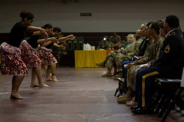 "The ""Hearts of the Pacific"" dance group performed traditional dances during an Asian-Pacific Heritage Month Observance at the Collier Fitness Center, Camp Humphreys, May 24."