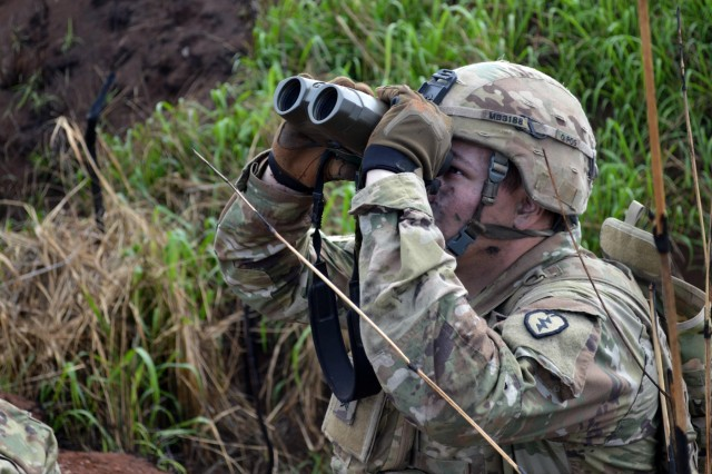 A Soldier assigned to the 2nd Battalion, 27th Infantry Regiment, 3rd Brigade Combat Team, 25th Infantry Division, scans the horizon at an observation post during a live fire exercise for Tiger Balm 18 at Schofield Barracks, Hawaii, on May 23, 2018. Tiger Balm is a bilateral exercise held yearly between the U.S. and Singapore armies. (U.S. Army photo by Staff Sgt. Armando R. Limon, 3rd Brigade Combat Team, 25th Infantry Division)