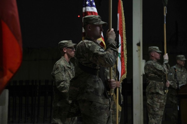 "Soldiers of the 3rd Cavalry Regiment ""Brave Rifles"" and 3rd Brigade Combat Team ""Patriots,"" 10th Mountain Division, stand with the unit and national colors during a transfer of authority ceremony in Baghdad, Iraq, May 28, 2018. The Brave Rifles assumed the mission from the Patriots, and will support the Combined Joint Task Force - Operation Inherent Resolve, working by, with and through Iraqi Security Forces and coalition partners to defeat ISIS in designated areas of Iraq and Syria. (Photo by Spc. Avery Howard, Combined Joint Task Force - Operation Inherent Resolve Public Affairs)"