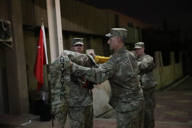 "Col. Jonathan Byrom and Command Sgt. Maj. Adam Nash uncase the colors of the 3rd Cavalry Regiment ""Brave Rifles"" during a transfer of authority ceremony in Baghdad, Iraq, May 28, 2018. The Brave Rifles assumed the mission from the 3rd Brigade Combat Team ""Patriots,"" 10th Mountain Division, and will support the Combined Joint Task Force - Operation Inherent Resolve, working by, with and through Iraqi Security Forces and coalition partners to defeat ISIS in designated areas of Iraq and Syria. (U.S. Army photo by Master Sgt. Horace Murray)"