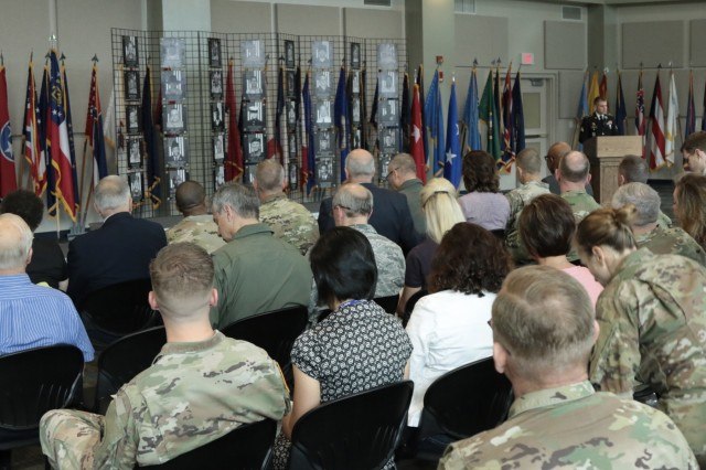 CLAY NATIONAL GUARD CENTER, Marietta, Ga., May 25, 2018 - Guests and Georgia Guardsmen from around the state fill the Joint Force Headquarters to attend the 2018 Memorial Day Observance.  The ceremony honors and commemorates the 42 Georgia Guardsmen who made the ultimate sacrifice during on-going military operations around the world.Georgia Army National Guard photo by Staff Sgt. R. J. Lannom Jr
