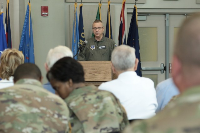 CLAY NATIONAL GUARD CENTER, Marietta, Ga., May 25, 2018 - The Assistant Adjutant General - Air, Maj. Gen. Jesse Simmons, honors the 42 Georgia Guardsmen who made the ultimate sacrifice during military operations during the 2018 Memorial Day Observance at Joint Force Headquarters.  The annual event honors the Guardsmen and starts a weekend of events to remember and honor fallen comrades.Georgia Army National Guard photo by Staff Sgt. R.J. Lannom Jr