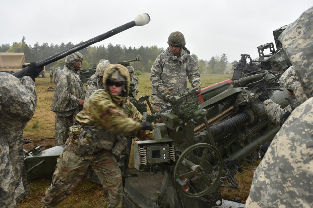 New York National Guard Soldiers from Charlie Battery, 1st Battalion, 258th Field Artillery, conduct dry-fire training on Fort Drum, Watertown N.Y., May 22nd, 2018. The 258 was conducting Annual Training, which included transitioning from the M119 Howitzer, to the new M777 Howitzer.
