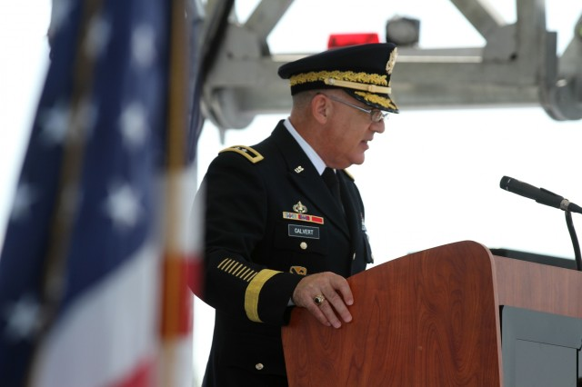 COLLEGE STATION, Texas-Maj. Gen. Paul Calvert, 1st Cavalry Division commanding general, speaks during the opening ceremony for the inaugural Texas Weekend of Remembrance here, May 26. The weekend-long event was held in order to honor those military members who paid the ultimate sacrifice.