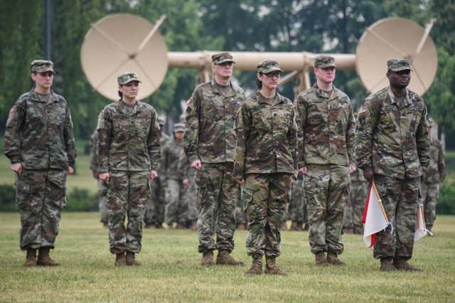 U.S. Army Lt. Col. Heather McAteer, center, stands in front of the formation after taking command of the 44th Expeditionary Signal Battalion during a change of command ceremony at Tower Barracks, Grafenwoehr, Germany, May 24, 2018. (U.S. Army photo by Markus Rauchenberger)