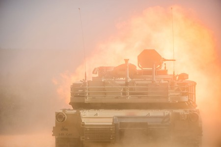 An M1A2 Abrams Main Battle Tank fires its main gun during the Operation Thunderbolt Armor demonstration at Red Cloud Range on Fort Benning, Georgia,  April 30. Operation Thunderbolt is a combined-arms demonstration consisting of a tank platoon engaging targets with direct fire and calling for indirect fire support from mortars and artillery.