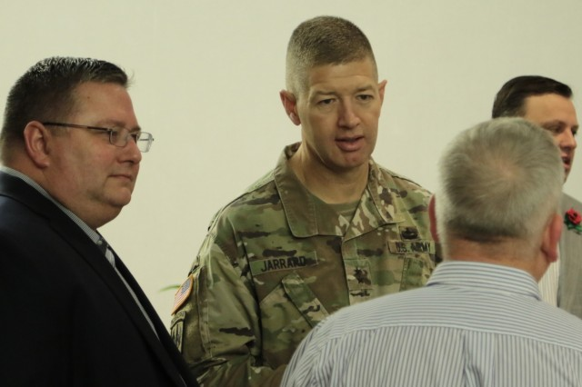 Atlanta, May 30, 2018 - Georgia's Adjutant General, Maj. Gen. Joe Jarrard, speaks with Georgia-Pacific's former military leaders and employees during their 2018 Military Appreciation event.  Jarrard was invited to formally address veteran employees of Georgia-Pacific and thank them for their company's on-going efforts in recruiting and hiring veterans.