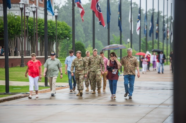 COLUMBUS, Ga. (May 30, 2018) - Soldiers, veterans and civilians attend the Memorial Day Paver Dedication Ceremony May 28, 2018, at the National Infantry Museum in Columbus, Georgia.  Pavers are granite plaques dedicated to service members lost in the line of duty. (U.S. Army photo by Patrick Albright, Maneuver Center of Excellence, Fort Benning Public Affairs)