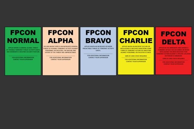 The Army in Europe relies on five Force Protection Condition (FPCON) levels -- Normal, A, B, C and D -- or as the Army says, Normal, Alpha, Bravo, Charlie and Delta.