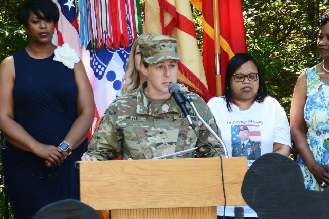 """Brig. Gen. Heidi Hoyle, Chief of Ordnance, gives remarks at the annual Survivor Outreach Services Butterfly Release May 24 in the Fort Lee Memory Garden adjacent to the installation's Army Community Service facility. The general reminded the honored guests and other attendees that they are held in high regard as members of the Army and Fort Lee Family. """"(I hope) you can draw strength from us as we do from you,"""" she expressed to the participating Gold Star Families and Spouses."""