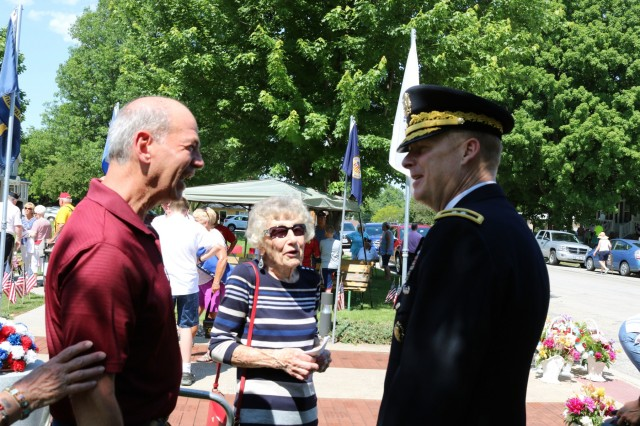 Maj. Gen. Duane Gamble, commanding general of the U.S. Army Sustainment Command, speaks to local residents following a Memorial Day observance held in Orion, Illinois, May 28. (Photo by Rhys Fullerlove, ASC Public Affairs)