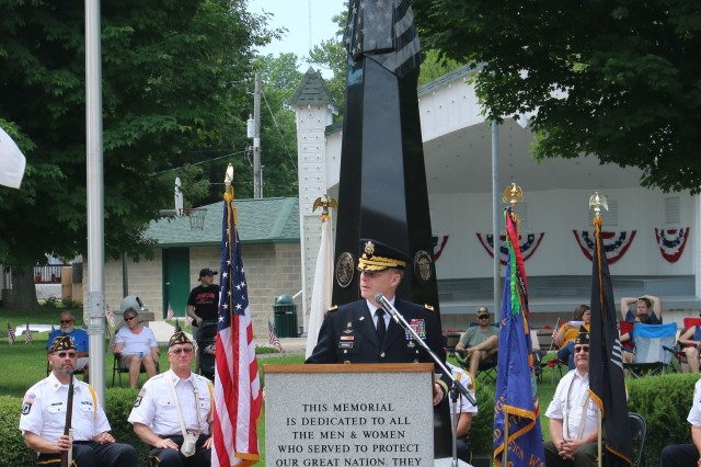 Maj. Gen. Duane Gamble, commanding general of the U.S. Army Sustainment Command, speaks at the Orion Veterans Memorial during a Memorial Day observance held in Orion, Illinois, May 28. (Photo by Rhys Fullerlove, ASC Public Affairs