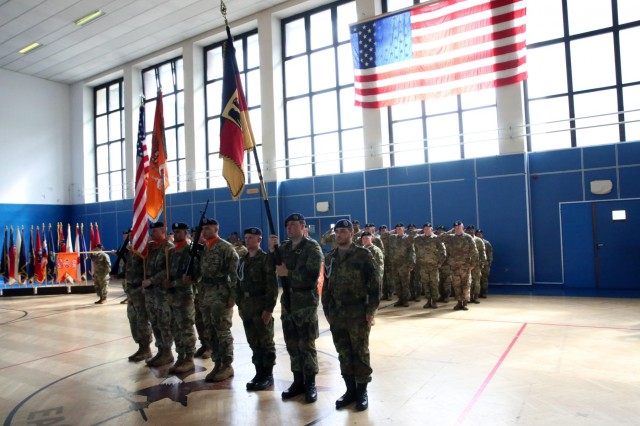 A color guard of U.S. Soldiers assigned to the 102nd Strategic Signal Battalion, 2nd Theater Signal Brigade, and German Soldiers assigned to the Bundeswehr's 282nd CIS Support, present the colors during the 102nd Strategic Signal Battalion's change of command ceremony May 31, 2018 in Wiesbaden, Germany. (U.S. Army photo by William B. King)