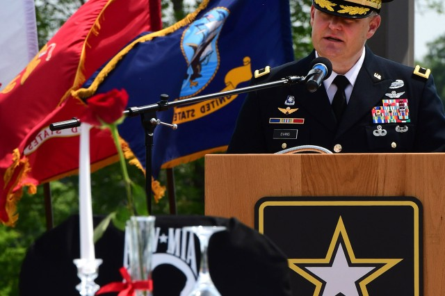 Brig. Gen. John Evans, commanding general of U.S. Army Cadet Command and Fort Knox, speaks to more than 550 in attendance at the Memorial Day ceremony Monday.