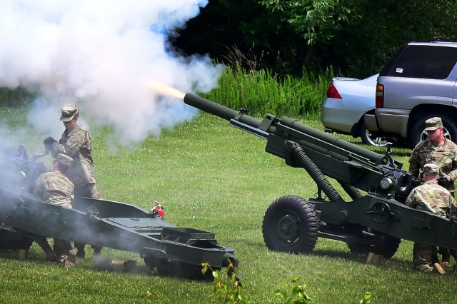 Members of 19th Engineer Battalion render a 21-gun salute during the ceremony.