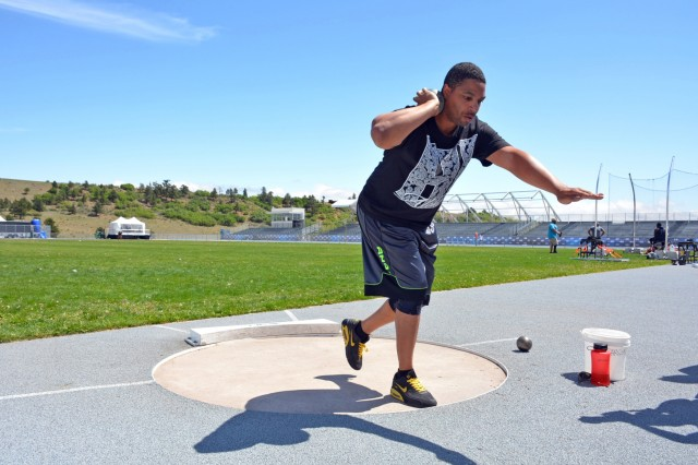 U.S. Army Sgt. Samuel Daniels practices for the shot put field event, May 28, 2018, at the U.S. Air Force Academy, Colorado Springs, Colo. in preparation for the 2018 Department of Defense (DOD) Warrior Games.