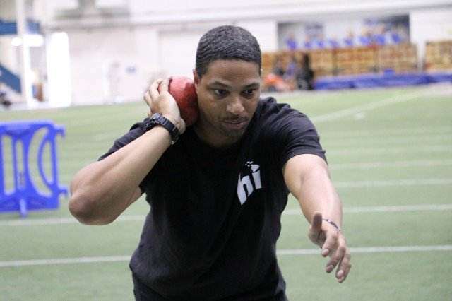 U.S. Army Sgt. Samuel Daniels is all business during shot put training May 29, at the U.S. Air Force Academy Cadet Field House indoor track facility, in preparation for the 2018 Department of Defense Warrior Games.