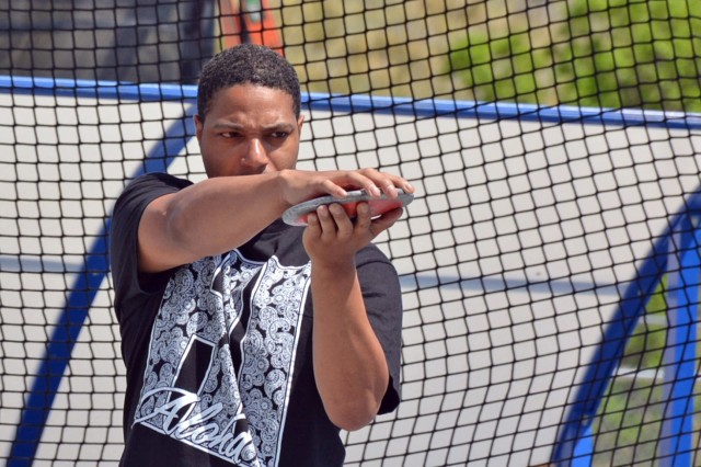 U.S. Army Sgt. Samuel Daniels practices for the discus field event, May 28, 2018, at the U.S. Air Force Academy, Colorado Springs, Colo. in preparation for the 2018 Department of Defense (DOD) Warrior Games.