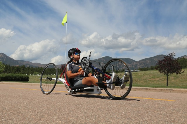 U.S. Army Sgt. 1st Class Hyoshin Cha, a participant in the Warrior Games, tests the route during course orientation, Colorado Springs, Colorado, May 28, 2018. The DoD Warrior Games is an adaptive sports competition for wounded, ill, and injured service members and veterans. Approximately 300 athletes representing teams from the Army, Marine Corps, Navy, Air Force, Special Operations Command, United Kingdom Armed Forces, Canadian Armed Forces, and the Australian Defence Force will compete June 1 - June 9 in archery, cycling, track, field, shooting, sitting volleyball, swimming, wheelchair basketball, and - new this year - powerlifting and indoor rowing.  (U.S. Army photo by Staff Sgt. Kalie Frantz)