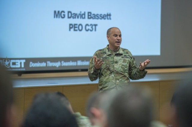 """Caption: MG Bassett engages the audience and offers a """"PEO Perspective"""" during the Army Network Technical Industry Forum at Aberdeen Proving Ground, Md., on February 6-7, 2018."""