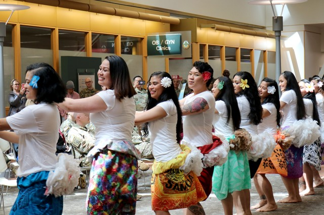 "The female dancers of the ""JBLM Soldiers of the Pacific Islands"" group perform a hula to traditional music May 10 in recognition of Asian Pacific American Heritage Month at Madigan Army Medical Center, Joint Base Lewis-McChord, Washington."