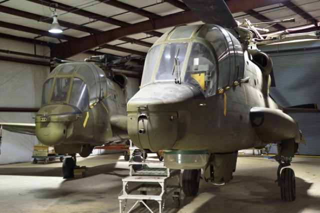 Two versions of the AH-56 Cheyenne sit in the U.S. Army Aviation Museum's collection in storage. One of the aircraft is currently under contract for restoration.