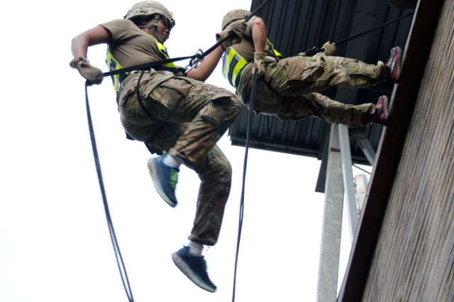 Soldiers from the 193rd Infantry Brigade descend Victory Tower May 23 as part of the unit's Rubicon exercise.