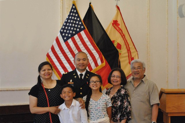 ANSBACH, Germany -- To celebrate May as Asian American and Pacific Islander Heritage Month, U.S. Army Garrison Ansbach (USAG Ansbach) and the 12th Combat Aviation Brigade (12th CAB) held an observance and luncheon at the Von Steuben Community Center May 31. Guest speaker for this year's Ansbach observance was Maj. Randy Viray, (center, left) Chief Nurse at the U.S. Army Health Clinic, Ansbach. During the ceremony a slide show presentation highlighted outstanding accomplishments and contributions of many Asian Americans and Pacific Islanders throughout U.S. history, beginning in 1763 with a group of Filipino sailors who established a settlement in Saint Malo, Louisiana, after fleeing mistreatment aboard Spanish ships, Asian peoples have come to America seeking refuge, freedom and new opportunities. Since then, Asian Americans and Pacific Islanders have fought to preserve the Union between the North and the South, connected our nation from east to west, received our nation's highest medal for valor and have served at all levels of the Army from private to Chief of Staff, and served our country as elected members of the U.S. House and Senate. According to Pentagon figures, today more than 36,000 Asian American and Pacific Islander Soldiers serve in our Army.