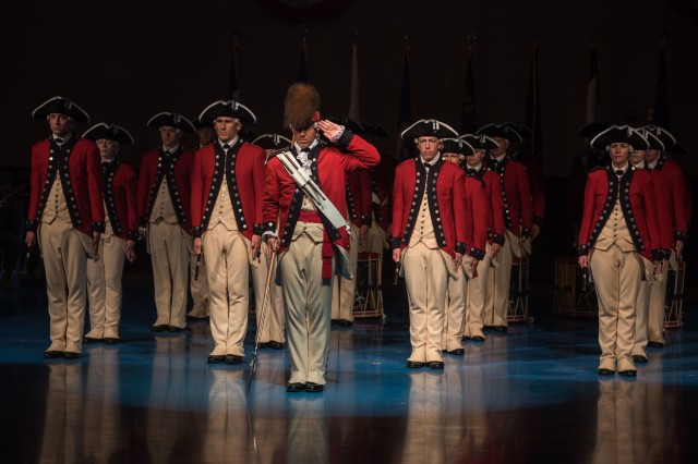 "Soldiers with the Fife and Drum Corps, 3d U.S. Infantry Regiment (The Old Guard), participate during a Twilight Tattoo performance, hosted by Dr. Mark T. Esper, 23rd Secretary of the United States Army, in Conmy Hall, Joint Base Myer Henderson-Hall, Va., on May 31, 2018. Twilight Tattoo is an event that showcases the history of the U.S. Army through the Soldiers of The Old Guard and The U.S. Army Band ""Pershing's Own"". (U.S. Army photos by Spc. Lane Hiser)"