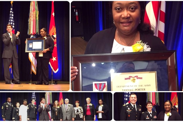 Images from the award ceremony at the Pentagon on June 1, 2018 where Tanya Porter, a registered nurse with Madigan Army Medical Center, receives the Secretary of the Army Award for Valor for putting her life in danger to save victims of the December 18 Amtrak train derailment in DuPont, Wash.
