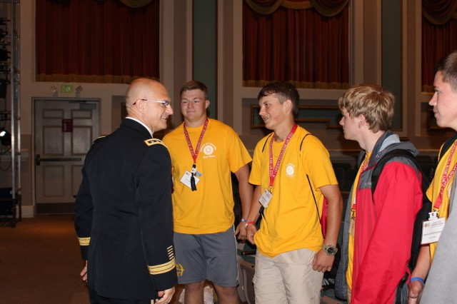 Lt. Gen. Ed Daly, Army Materiel Command deputy commanding general and Redstone Arsenal senior commander, talks with a group of Alabama Boys State participants after his keynote remarks. The young men, going into their junior year, asked Daly about college advice from his time at the United States Military Academy. (U.S. Army photo by Megan Gully)