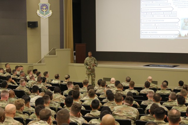 Master Sgt. Troy Collard, the noncommissioned officer in charge of the Military Advisor Training Academy at Fort Benning, explains the academy to I Corps personnel during a Security Force Assistance Brigade recruiting brief at Joint Base Lewis-McChord, Washington, May 30, 2018. The SFAB Recruiting and Retention team from U.S. Army Forces Command explained the organization's unique mission and how SFABs will shape the Army in the years to come during the briefs here. In a May 18, 2018, release the Department of the Army announced the 5th SFAB will be assigned to JBLM in 2019, as one of the three new advise-and-assist brigades. (U.S. Army photo by Staff Sergeant Michael Armstrong, 7th Infantry Division.)