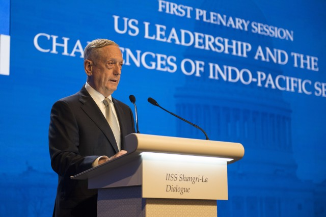 Defense Secretary James N. Mattis delivers remarks during the opening session of the Shangri-La Dialogue in Singapore, June 2, 2018. Navy photo by Petty Officer 2nd Class Joshua Fulton